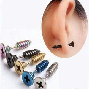 Stainless Steel 3D Unisex Screw Stud Earrings